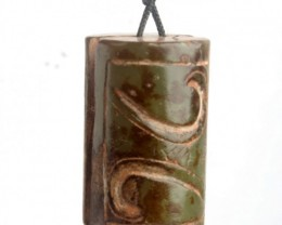 "FROM A COLLECTION OLD JADE ""LUCK PATTERNS"" PENDANT/AMULET"