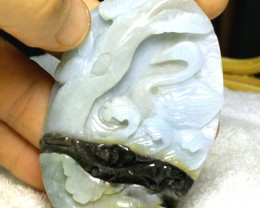 252 Ct. Hand Carved Amazonite Swan Luck Charm Pendant, 77mm
