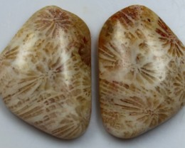 15.40 CTS  PAIR OF POLISHED CORAL NATURAL STONES