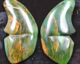 36.85 CTS JASPER SEA BUTTERFLY SHAPE AND POLISHED PAIR