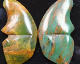 32.20 CTS JASPER SEA BUTTERFLY SHAPE AND POLISHED PAIR
