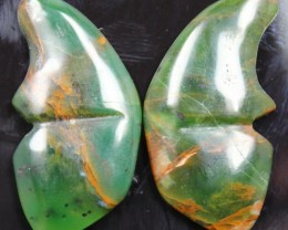 33.40  CTS JASPER SEA BUTTERFLY SHAPE AND POLISHED PAIR