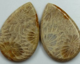 30.45 CTS  PAIR OF POLISHED CORAL NATURAL STONES
