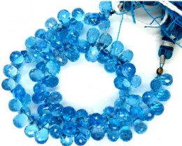 LONDON BLUE FACETED DRILLED  BEADS 100 CTS  PGB-8
