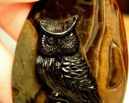 186 Carat Jasper Owl Luck Charm Carving - 70mm