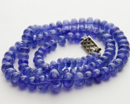 152ct Blue Tanzanite Bead Strands Silver Clasp (B51X1)