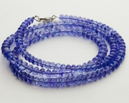 92.5ct Blue Tanzanite Bead Strands Silver Clasp (B53Z1-5)