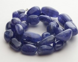 209.5ct Blue Tanzanite Bead Strand Silver Clasp (B59FF2-5)