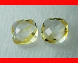 10mm VVS Natural Brazil Faceted Citrine Pair Z1035