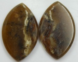 24.10 CTS JASPER PAIR POLISHED STONES GREAT RANGE IN STORE