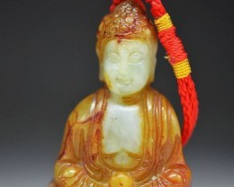 FROM A COLLECTION OLD JADE CARVING BUDDHA PENDANT/AMULET