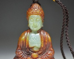 FROM A OLLECTION OLD JADE CARVING BUDDHA PENDANT AMULET
