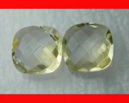 10mm VVS Natural Brazil Faceted Citrine Pair Z1043