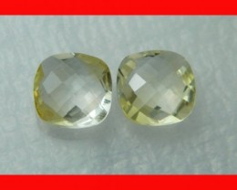 10mm VVS Natural Brazil Faceted Citrine Pair Z1046