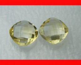 10mm VVS Natural Brazil Faceted Citrine Pair Z1047