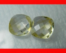 10mm VVS Natural Brazil Faceted Citrine Pair Z1049