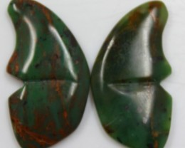 36.05 CTS JASPER SEA BUTTERFLY SHAPE AND POLISHED PAIR