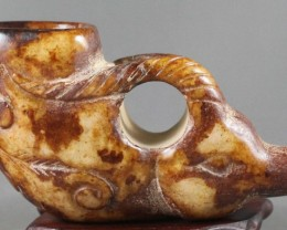 FROM A COLLECTION NICE JADE CARVING BEAST CUP