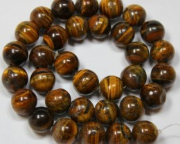 445 CTS -  1 STRAND TIGER EYE 11MM ROUND BEAD 15INCH LENGHT
