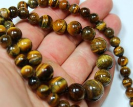 320 CTS  1 STRAND TIGER EYE 14MM ROUND BEAD 18INCH LENGHT