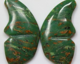 34.55 CTS JASPER PAIR BUTTERFLY STONES GREAT RANGE IN STORE