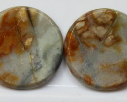 17.40 CTS JASPER PAIR POLISHED STONES GREAT RANGE IN STORE