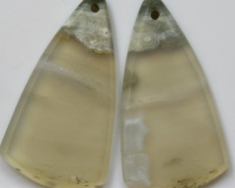 26.30 CTS AGATE PAIR POLISHED STONES GREAT DRILLED