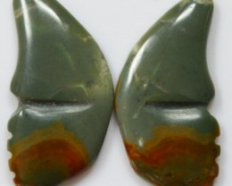 30.15 CTS JASPER PAIR POLISHED STONES GREAT RANGE IN STORE