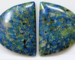 31.40 CTS AZURITE MALACHITE CABOCHON STONE PAIR OF STONES