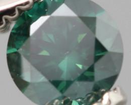 SPARKLING ROUND DARK GREEN NATURAL  DIAMOND 0.225Cts