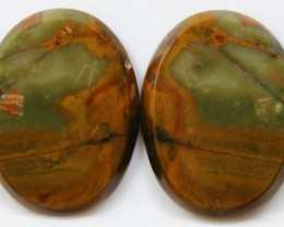 35.85 CTS JASPER PAIR POLISHED STONES GREAT RANGE IN STORE