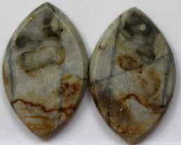 30.05 CTS JASPER PAIR POLISHED STONES GREAT RANGE IN STORE