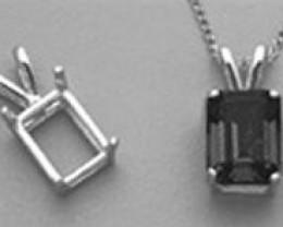 9X7mm Emerald Cast Wire Pendant .925 Sterling Silver