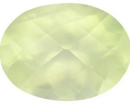 PREHNITE 2.80 CARAT WEIGHT OVAL CHECKERBOARD CUT GEMSTONE