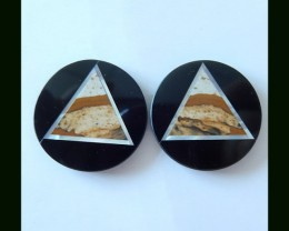 30Cts  Impact Art  - Obsidian,Shell , Picture Jasper Intarsia Cabochon Pair