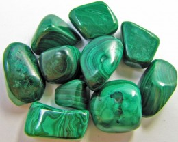150 GRAMS TUMBLED  MALACHITE GEMSTONE  GG 1409