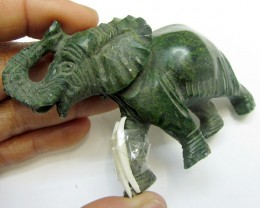 340 CTS SERPENTINE ELEPHANT  TRIBAL CARVING  MYGM 1467