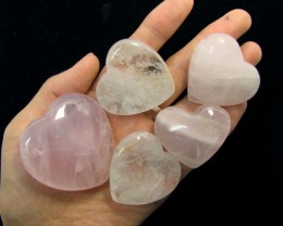 0.188 KILO 5 CRYSTAL N ROSE QUARTZ HEARTS GG 1539
