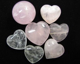 0.325  KILO ROSE QUARTZ  SPHERE N 6 HEARTS GG 1541
