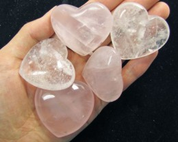 0.169KILO 5 CRYSTAL N  ROSE QUARTZ HEARTS GG 1542