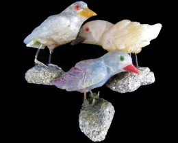 Parcel Three finch Bird carvings Peru  AGR 500