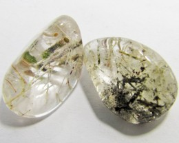 74 Cts Two  Tumbled Rutilated  Quartz   MYGM 155