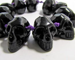 300 CTS  11 FACETED OBSIDIAN  SKULL CARVING BEADS AGR 510