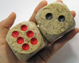 .5 KILO  MASSIVE PAIR DICE IN MOROCCAN SEA FOSSIL MYGM 165