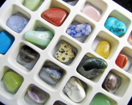 DISPLAY BOX 25 MIXED GEMSTONES MYGM 1713