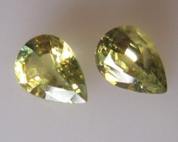 1.72cts Pear Matching Pair Natural Yellow PartiSapphires 2pc