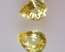 0.65cts  Pear Matching Pair Natural Yellow Sapphires 2pcs
