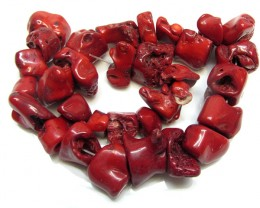 1200 CTS RED CHUNKY CORAL BEADS 40 CM LENGTH  GG 1693