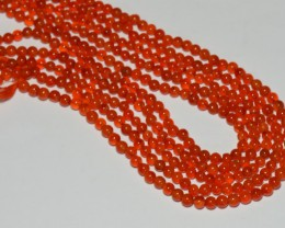 "5mm red orange CARNELIAN round Beads 14"" line"