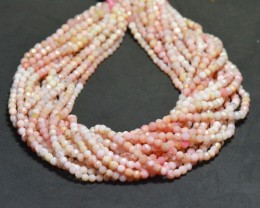 3.5 to 4mm 13.5in Peru PINK OPAL round faceted beads PO01